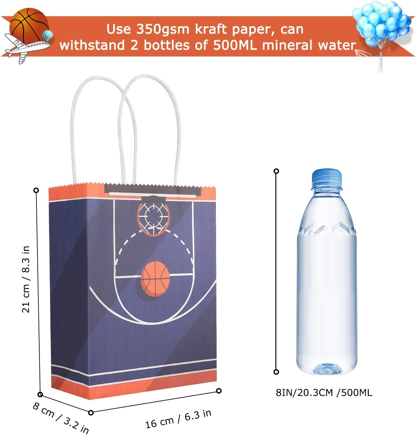 24Pcak Basketball Party Bags Gift Bags Kraft Bags with Handle for Birthday,Basketball Goodie Bags,Basketball Theme Party Favor Bags and Basketball Party Celebrations