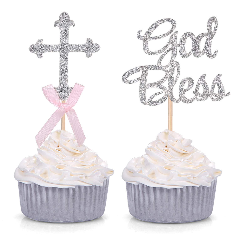 bleu croix cross baptême baptême cupcake cake topper decoration 12 rose