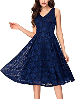Noctflos Lace V Neck Fit & Flare Midi Cocktail Dress for Women Party Wedding