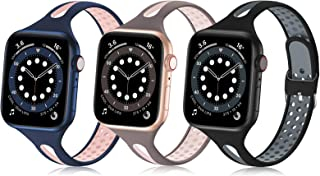Bandiction Compatible with Apple Watch Bands 38mm 40mm 42mm 44mm, Silicone Sport Bands for iWatch Bands Women Men Thin Sli...
