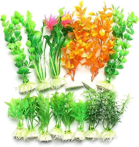 2021 Mallofusa 14 Pcs Aquarium outlet online sale Heart Style Leaves Flower Decor Plants outlet sale for Fish Tank online sale