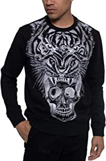 Sean John Men Sweater Black US 4XL Big & Tall Tiger Embroider Crewneck