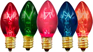 Multi-Color Christmas Light Bulbs Flashing Twinkle Blinking Transparent Clear Red Blue Green Yellow & Orange Box of 25 C9 E17 Roof Holiday Tree Home Decorating Incandescent Outdoor Lighting