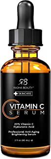 Radha Beauty Natural Vitamin C Serum for Face, HUGE 2oz - 20% Organic Vitamin C + Vitamin E + Hyaluronic Acid, Facial Seru...