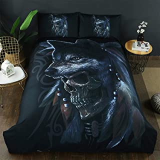 Bow Nightmare Before Christmas Duvet Cover Sets Polyester Cool Animal Wolf Skull Design 3 PC(1 Duvet Cover,2 Pillow Shams) (Twin)