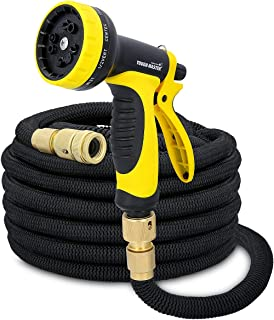 TOUGH MASTER TM-EHP110 Garden Hose, Extra Strength, Solid Brass Fittings No-Kink Flexible Expanding Stretch, Soft Grip 10 Function Spray Gun Included (100 FT, Black)