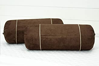 AURAVE Imported Suede Polyester Velvety 2 Pcs Bolster Covers - Coffee Brown
