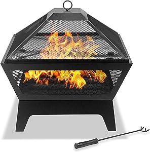 Centurion Supports Kastora Full-Flame Patio et Foyer de Jardin, Barbecue Chauffage–Contemporain Finition en Filet Noir