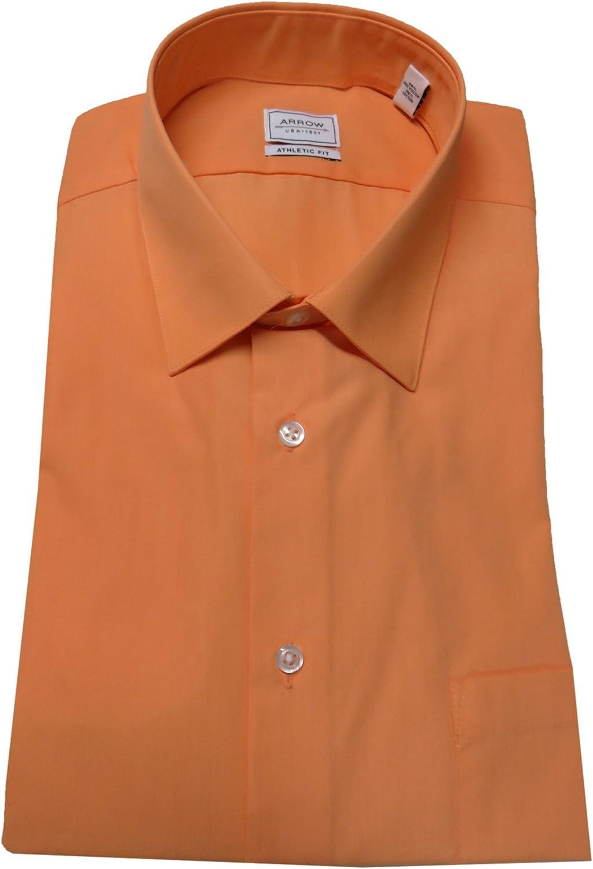 Arrow Men's Athletic Fit Shirt, Size 15-15 1/2-32/33, Canela/Orange