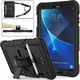 SEYMAC stock Galaxy Tab A 10.1 T580/T585/T587 Case, Three Layer Hybrid Drop Protection Case with [360 Rotating Stand] Hand Strap &[Screen Protector] for Samsung Galaxy Tab A 10.1 (Black)