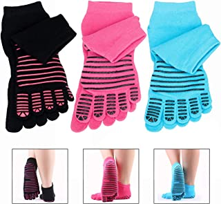 LHKJ 3 Pares Calcetines de Dedos Antideslizantes de Algodón Mujeres para Pilates Yoga Fitness Danza Gimnasio Deportes Gimnasio ect