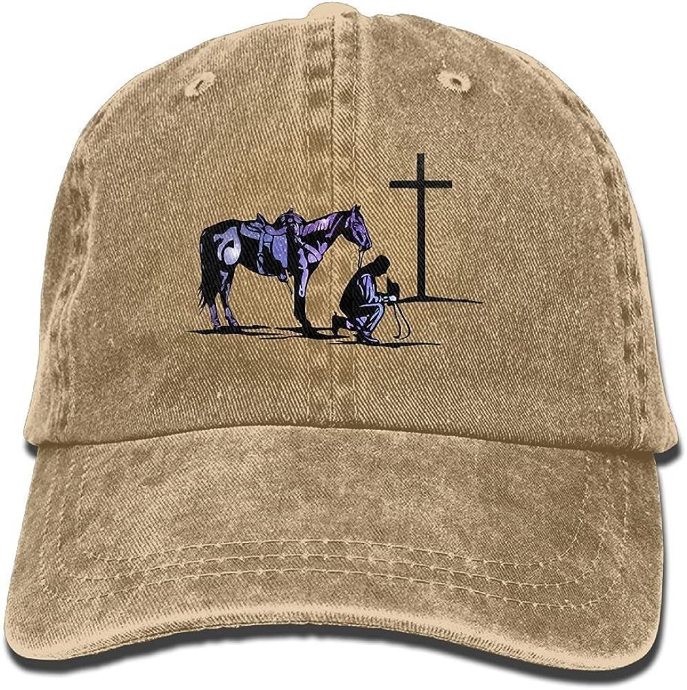 Cowboy Horse Prayer Cross Unisex Adult Baseball Hat Sports Outdoor Cowboy Cap for Men and Women Snapback