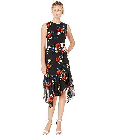 Calvin Klein Floral Print Chiffon Dress (Red Multi) Women