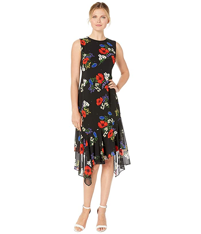 1930s Day Dresses, Tea Dresses, House Dresses Calvin Klein Floral Print Chiffon Dress Red Multi Womens Dress $107.10 AT vintagedancer.com