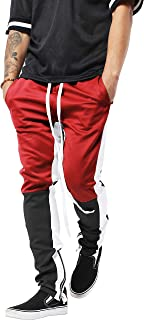 Mens Track Pants Skinny Fit Stripe Multi Tone Stretch Casual Athletic Jogger Sweatpants