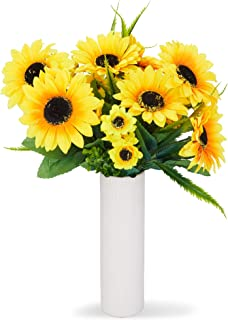 comprar comparacion Juvale Ramos de girasol artificiales, flores amarillas falsas para la decoración del hogar (2 ramos)