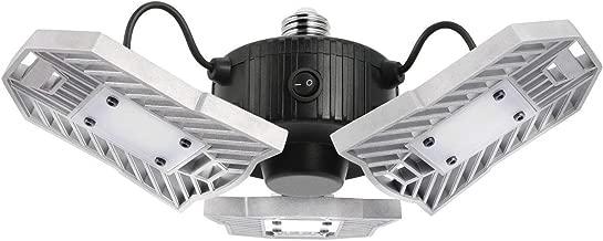 Motion Activated LED Garage Lights, 60W Adjustable Trilights Garage Ceiling Light, High Bay Deformable LED Corn Light Bulbs with Motion Sensor 6000LM 6000K, HID HPS Metal Halide Lamps 300W Equiv.