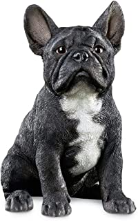 Collections Etc French Bulldog Statue Outdoor Garden Decor or Indoor, Hand Painted, Black