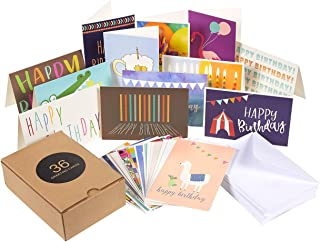 36-Pack Happy Birthday Cards Bulk Box Set, 36 Unique Assorted Designs, Blank Inside, Envelopes Included, for Men Women Kids Parents Office