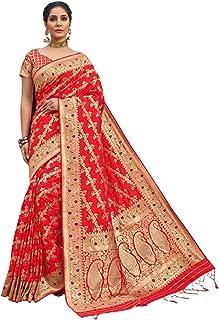 Royal party wedding south indian woman red Bridal Silk Saree border & Rich Pallu Sari Blouse 6304