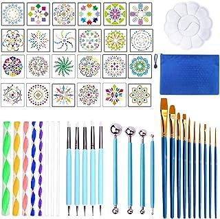 53pcs Kit Peinture Mandala, Outils de Pointage Palette de Mandala Pochoir Pinceau de Peinture de Tailles Différentes, Dott...