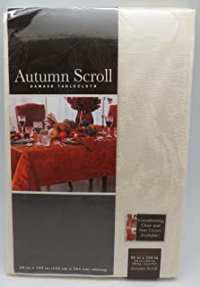 Autumn Scroll Damask Tablecloth (60 x 104 Inches, Ivory Color) Oblong Seats 8 to 10 People