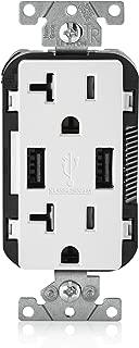 Leviton T5832-W USB Charger/Tamper-Resistant Duplex Receptacle, 20-Amp, White