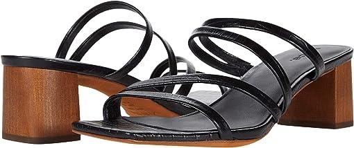 Black/Cognac Soft Mini Croc Leather