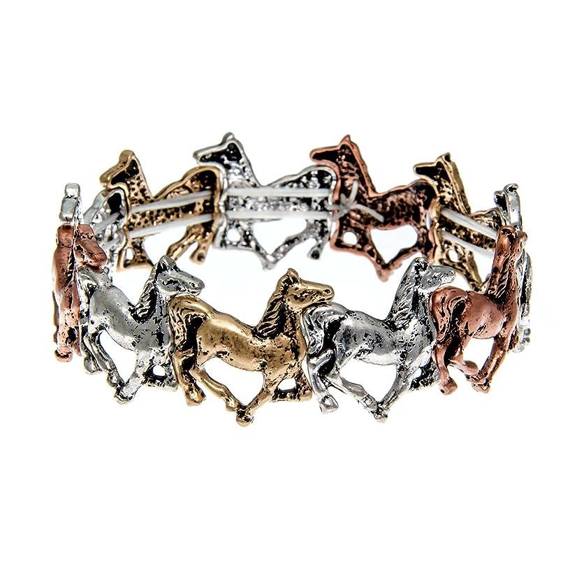 PammyJ Horse Jewelry - Tri-Tone Running Horse Stretch Bracelet