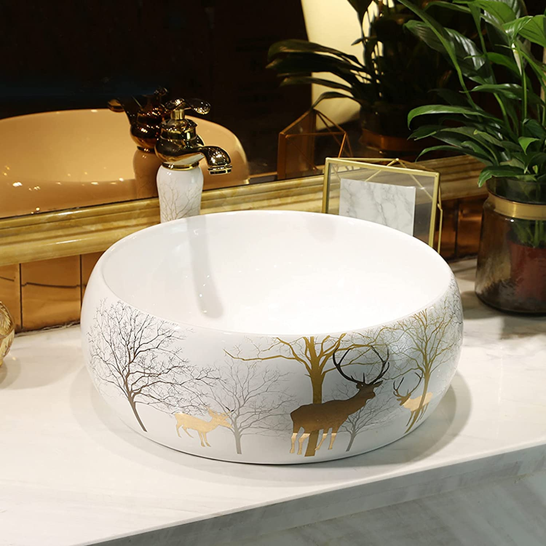 Bathroom Vessel Sink White Glaze Max 67% OFF Artistical Above Ceramic 4 years warranty Counte