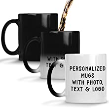 Custom Magic Photo Mugs - 11 oz. Color Changing Customized Coffee Mug - Add Photo, Logo, Picture or Text on Coffee Mugs, Ceramic Custom Mug, Great Photo Gifts for Mom, Dad and Office
