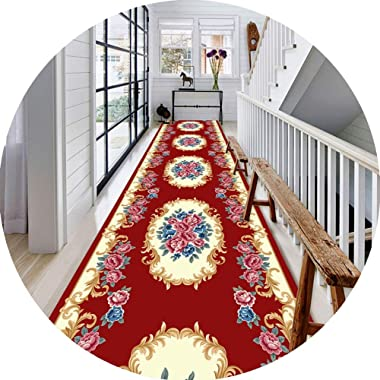 JIAJUAN Hallway Runner Rug, Non Slip Stain Resistant, Classic Floral Pattern, Kitchen Entrance Carpet Doormat, European Style