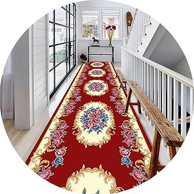 JIAJUAN Hallway Runner Rug, Non Slip Stain Resistant, Classic Floral Pattern, Kitchen Entrance Carpet Doormat, European Style, 2 Colors (Color : Red, Size : 90x400cm)