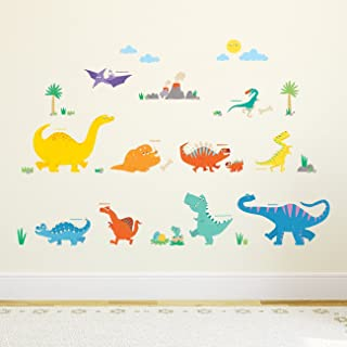 DECOWALL DW-1703 Colourful Dinosaur Kids Wall Stickers Wall Decals Peel and Stick Removable Wall Stickers for Kids Nursery...