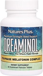 NaturesPlus Dreaminol Tri-Phase Melatonin Complex - 1.5 mg Melatonin, 30 Sustained Release Tablets - Maximum Strength Slee...