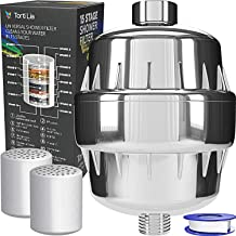Torti Lia 15 Stage Shower Filter with Vitamin C For Hard Water - 2 Cartridges Included Shower Filters Removes Chlorine Fluoride and Harmful Substances - Showerhead Filter High Output