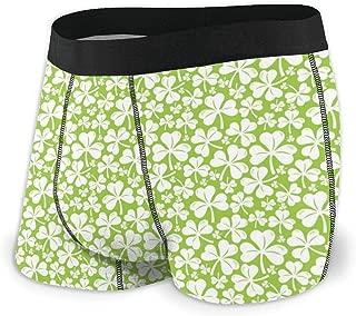 Mens Soft Breathable First Patricks Day White Clover Underwear Boxer Briefs
