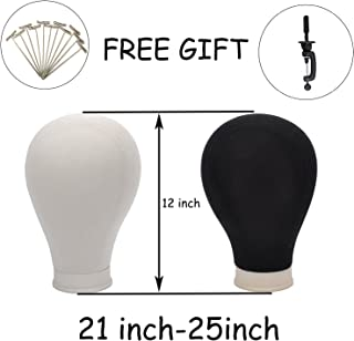 BHD BEAUTY Poly Block Professional Mannequin Head White for Make Display Style Dry Wig With Mount Hole 21''