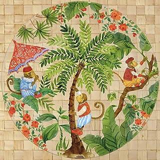 Les Jardins de la Comtesse - Grande Assiette/Plat Rond Verre Trempé thème Singes de Bali - Très résistante - 29,5 cm – Ass...
