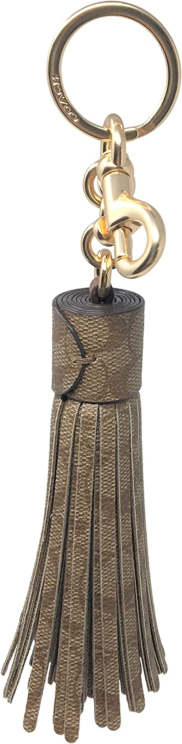 Coach Super Special 5% OFF SALE held Tassel Bag Charm in Canvas Khaki F74076 Signature Large