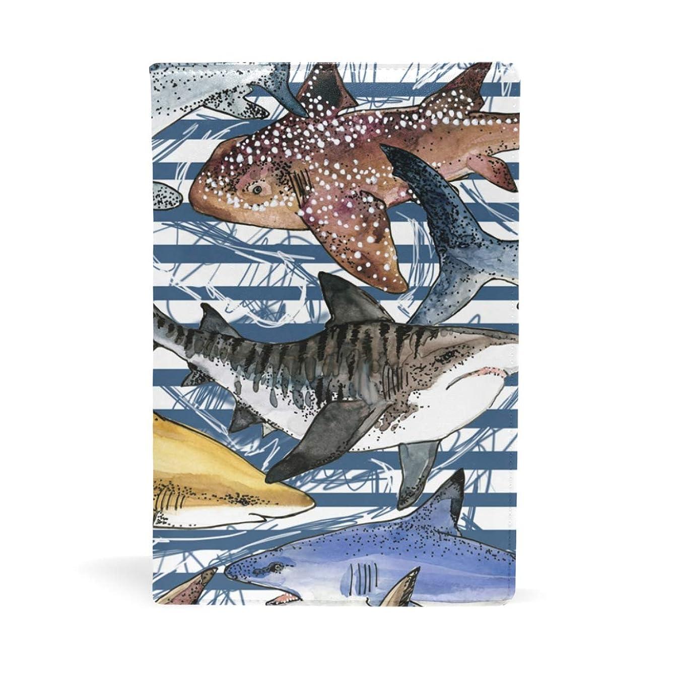 女将仮定する攻撃ブックカバー 文庫 a5 皮革 新書 かわいい 本カバー ファイル 資料 収納入れ オフィス用品 読書 雑貨 プレゼント サメ柄 鲛柄 魚柄 縞柄 面白い