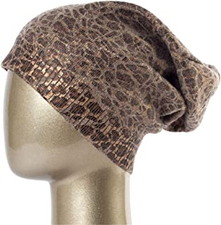 707c7de4687 Women s Leopard Knit Cashmere Beanie Hat Winter Single Layer Casual Slouchy  Beanies for Women Single Fabric
