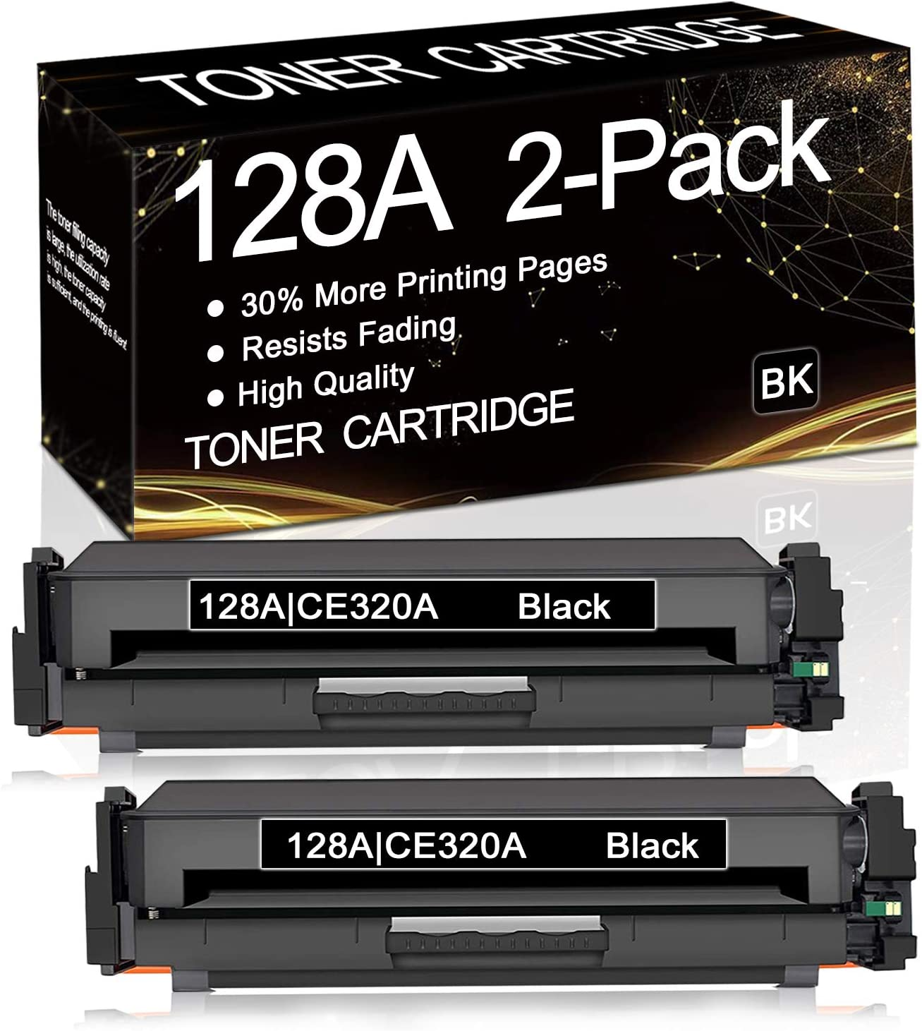 2-Pack Black 128A CE320A Oakland Mall Compatible Remanufactured Mail order cheap Toner Car