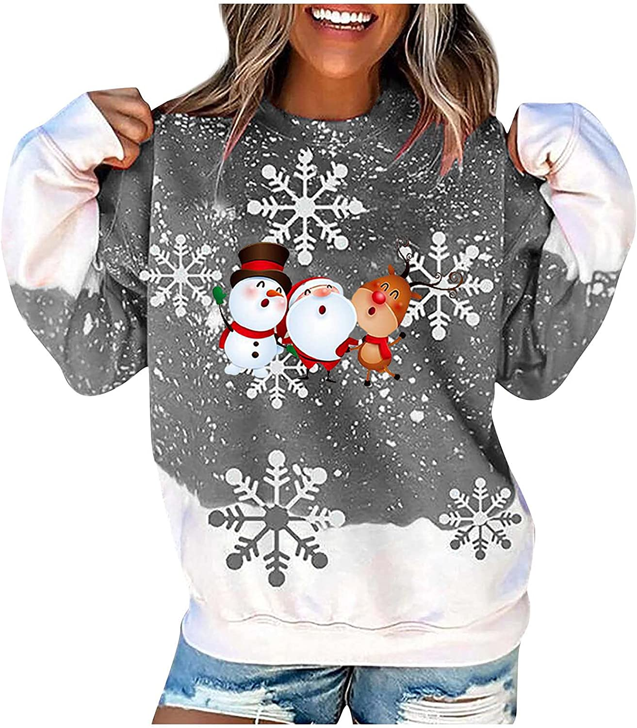 Womens New Orleans Mall Max 82% OFF Tops Oversized Crewneck Holiday Pullover Snowflake Happy