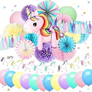 NICROLANDEE Unicorn Party Supplies Cute Unicorn Air Balloon Foil Rim Rainbow Paper Fans Blush Pink Lantern