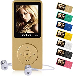 MYMAHDI 16GB MP3 Music Player 1.8 Inch Screen 70h lossless sound Support up to 128GB Micro SD Card Gold