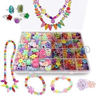 ANDYKEN Bead Kits for Jewelry Making - Craft Beads for Kids Girls Jewelry Making Kits Colorful Acrylic Girls Bead Set Jewe...