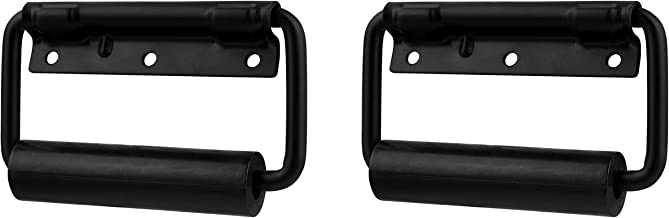TCH Hardware 2 Pack Spring Loaded Black Steel Surface Mount Handle with Padded Grip - Case Chest Cabinet Box