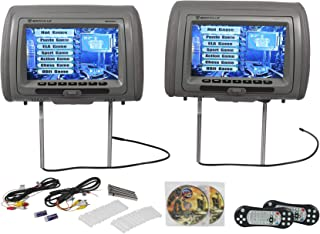 "Rockville RVD951-GR 9"" Gray Dual DVD/USB/HDMI/SD Car Headrest Monitors + Games"