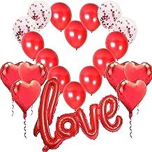 Saint Valentin et Fian/çailles Yansion MMTX Bougies Romantiques et P/étales,Bougies en Forme de Coeur,P/étales de Rose Rouge en Soie,Coeur Suspensions,H/élium Coeur Rouges D/écoration pour Mariage